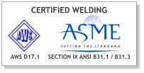 CERTIFIED WELDING SECTION IX ANSI B31.1 / B31.3 AWS D17.1